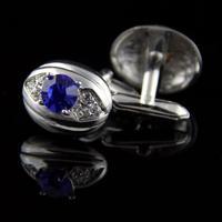 Manžetové knoflíčky oválné s fialovo-modrý kámen
