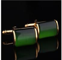 Manžetové knoflíčky zelený krystal