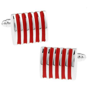 Manžetové knoflíčky červené-ocelové