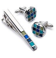 Manžetové knoflíčky se sponou na kravatu modrá mozaika