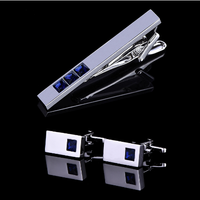 Manžetové knoflíčky s kravatovou sponou modrý krystal