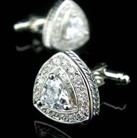 Manžetové knoflíčky bílé kamínky triangl