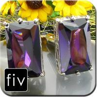 Manžetové knoflíčky stříbrné barvy s fialovým obrovským kamenem