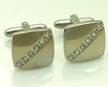 Manžetové knoflíčky chirurgická ocel s pásem crystalů