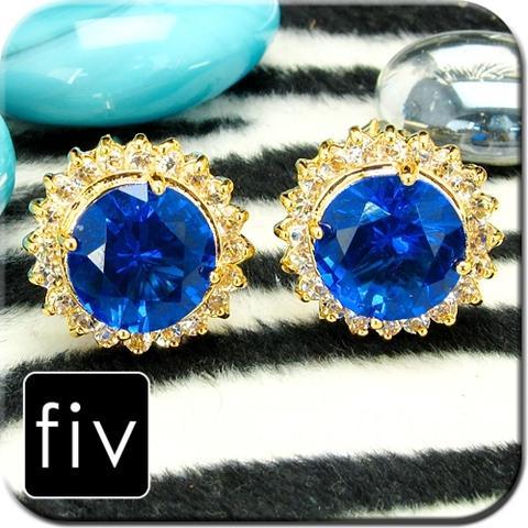 Manžetové knoflíčky zlatá barva s modrým crystalem