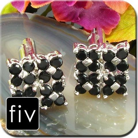 Manžetové knoflíčky stříbrné barvy s černými kamínky