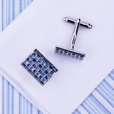 Manžetové knoflíčky modrá mozaika - 1