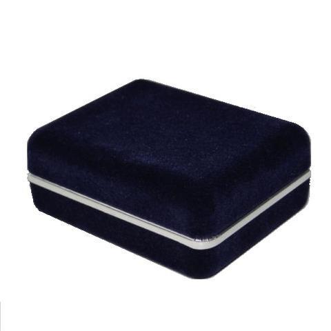 Krabička na manžetové knoflíčky - tmavě modrá semiš - 1