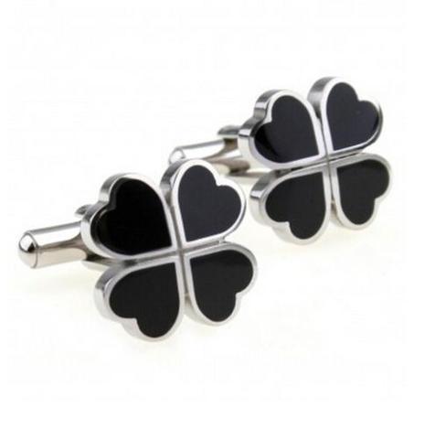 Manžetové knoflíčky černý čtyřlístek - 1
