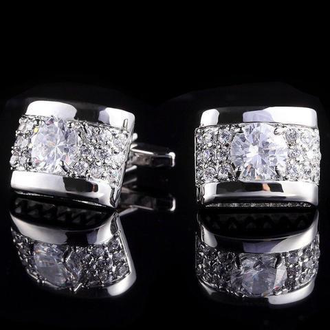 Manžetové knoflíčky luxusní zirkon stříbrný - 1