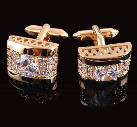 Manžetové knoflíčky luxusní zirkon zlatý - 1
