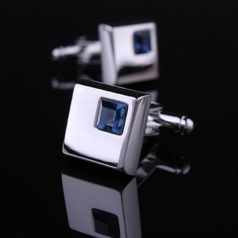 Manžetové knoflíčky - tmavě modrý krystal - 1