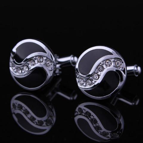 Manžetové knoflíčky kruhové s kamínky