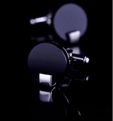 Manžetové knoflíčky černé kulaté - 1