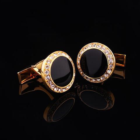 Manžetové knoflíčky kulatý černý krystal s kamínky - 1
