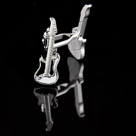 Manžetové knoflíčky kytara bílá