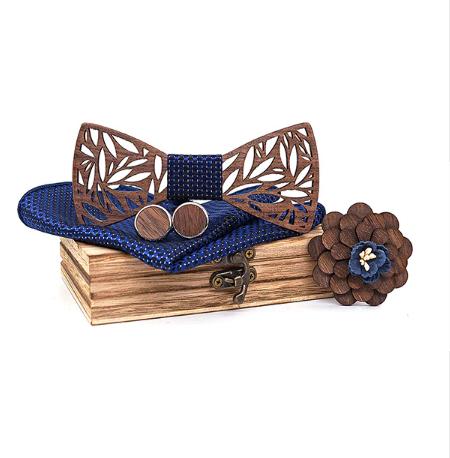 Dřevěné manžetové knoflíčky s motýlkem Rod