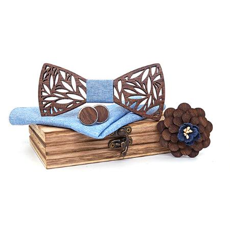 Dřevěné manžetové knoflíčky s motýlkem Pereplut
