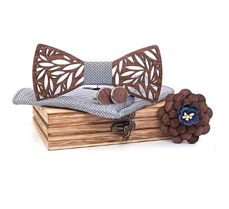 Dřevěné manžetové knoflíčky s motýlkem Veles