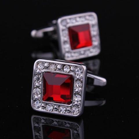 Manžetové knoflíčky rudý krystal - 1