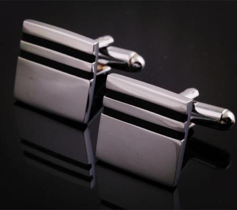 Manžetové knoflíčky čtvereček s dvěma proužky