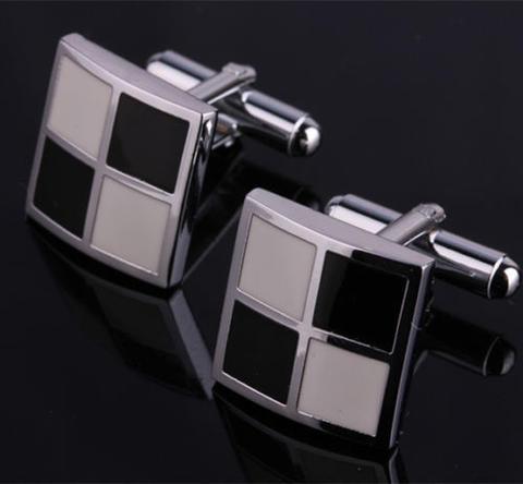 Manžetové knoflíčky bílo-černá mozaika - 1