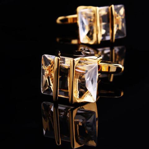 Manžetové knoflíčky Gemstone zlato-bílé - 1