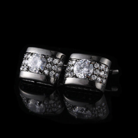 Manžetové knoflíčky luxusní zirkon černá
