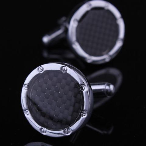 Manžetové knoflíčky černé kulaté s výplní - 1
