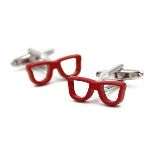 Manžetové knoflíčky červené brýle - 1