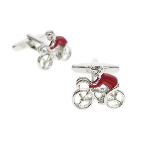 Manžetové knoflíčky červený cyklista - 1