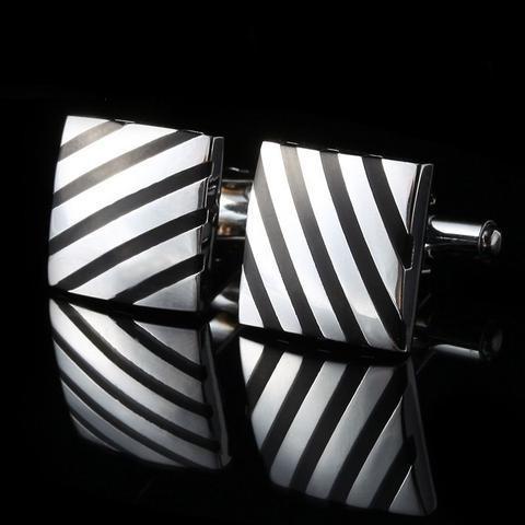 Manžetové knoflíčky čtverec s černým pruhe - 1