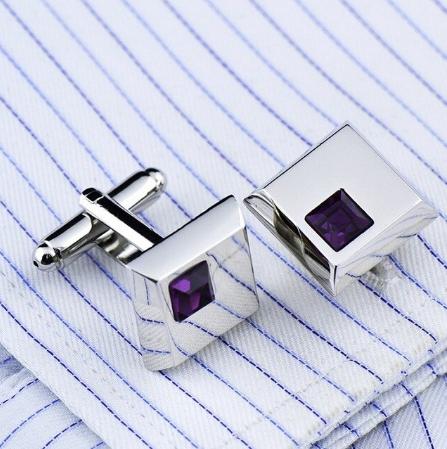 Manžetové knoflíčky - tmavě fialový krystal - 1