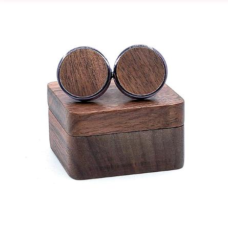 Manžetové knoflíčky dřevěný kruh + krabička