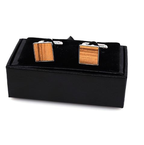 Manžetové knoflíčky dřevěný čtvereček - 1
