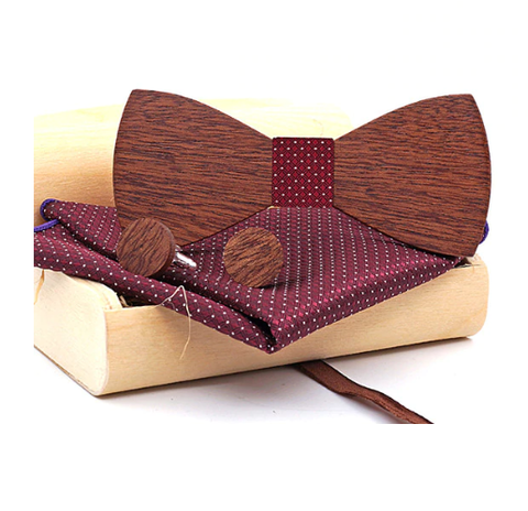 Dřevěné manžetové knoflíčky s motýlkem Mokoš