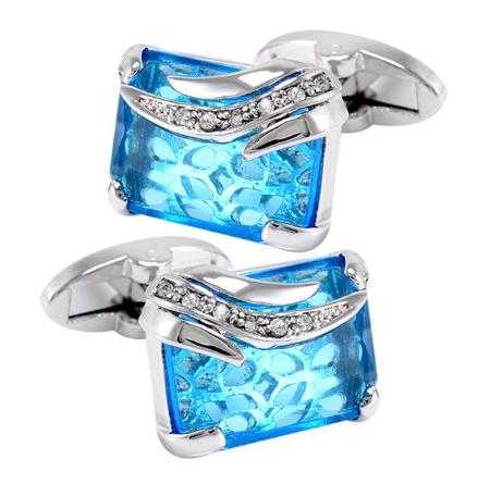 Manžetové knoflíčky modrý krystal - 1