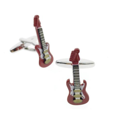 Manžetové knoflíčky elektrická kytara červená - 1
