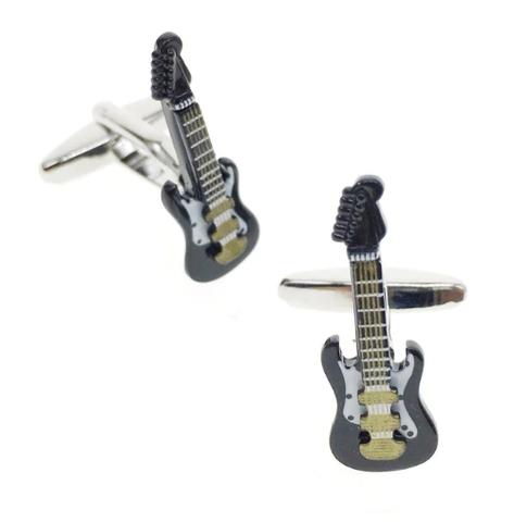 Manžetové knoflíčky elektrická kytara černá - 1