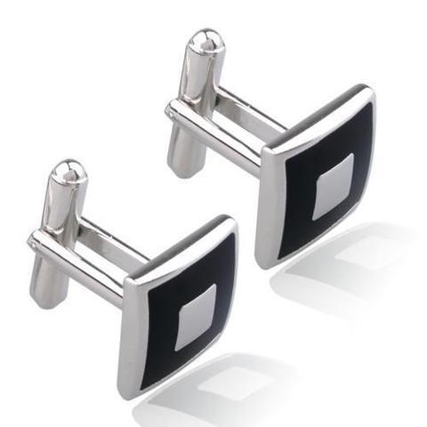 Manžetové knoflíčky černý čtverec s výplní - 1