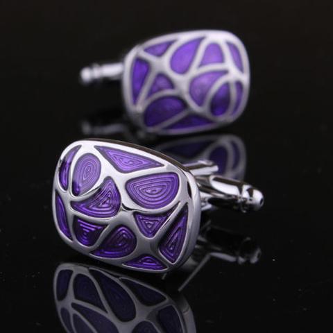 Manžetové knoflíčky fialová mozaika - 1