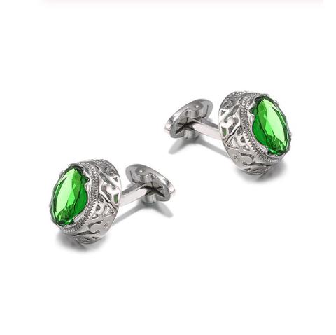 Manžetové knoflíčky zelený kámen - 1