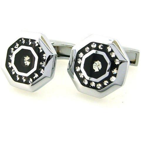 Manžetové knoflíčky osmiúhelníkové z oceli a kamínky - 1