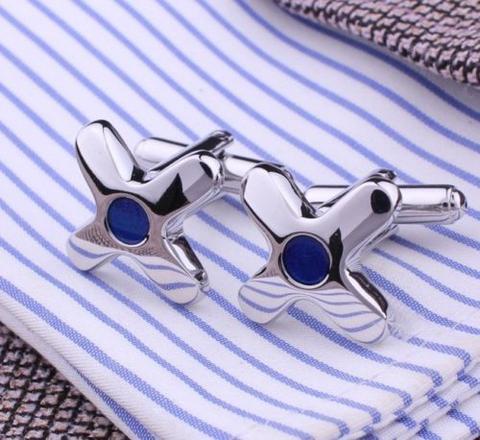 Manžetové knoflíčky hvězdice s modrým okem - 1