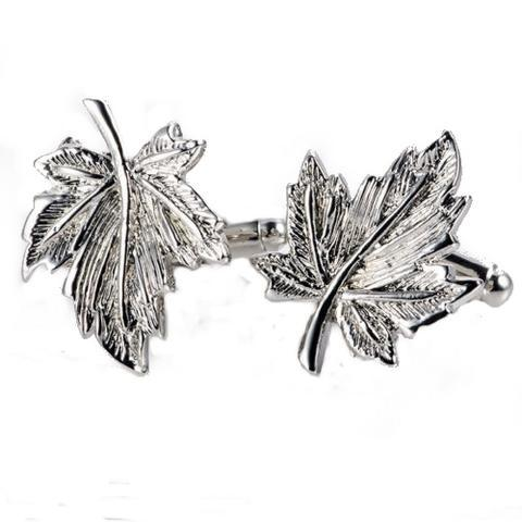 Manžetové knoflíčky javorový list silver