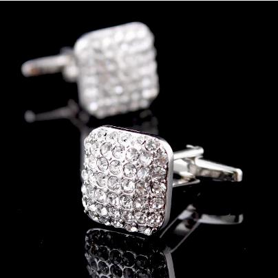 Manžetové knoflíčky světlé kamínky - 1