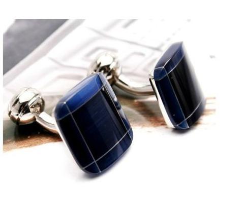 Manžetové knoflíčky modrá linka - 1