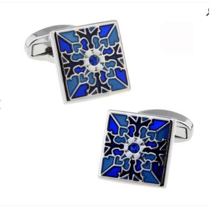 Manžetové knoflíčky modrý květ - 1