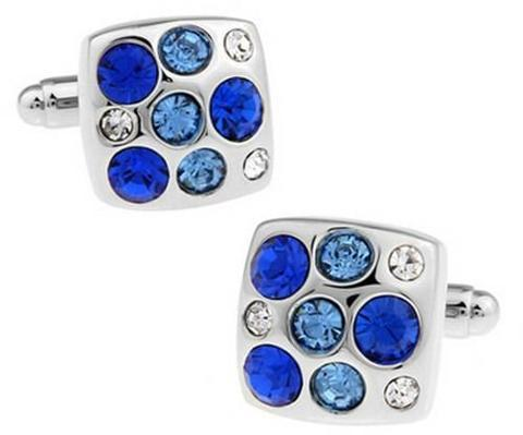 Manžetové knoflíčky s modrými kameny - 1
