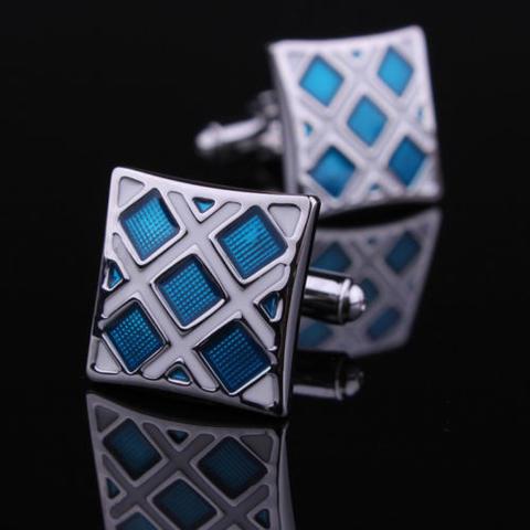 Manžetové knoflíčky modro-stříbrné - 1